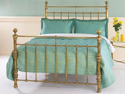 Original Bedstead Co Waterford 4 6 Double Antique Brass Slatted Bedstead Metal Bed