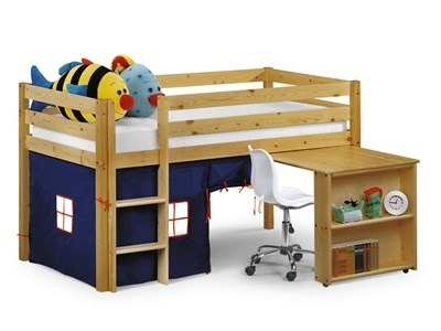 Julian Bowen Wendy Sleeper (With Curtains) Blue 3 Single Natural Cabin Bed