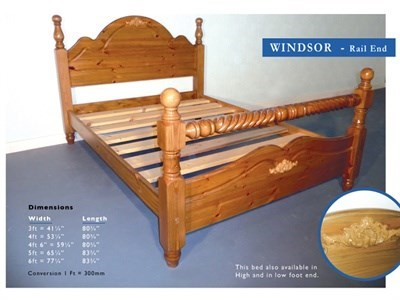 Windsor Windsor 3 Single Antique Wax Rail End Wooden Bed