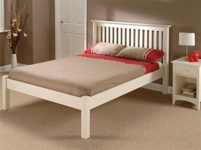 Julian Bowen Barcelona Stone White Low Foot End 3 Single Stone White Slatted Bedstead Low Foot End Wooden Bed
