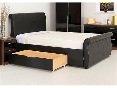 GFW Alabama - Faux Leather 4 6 Double Black Leather Leather Bed