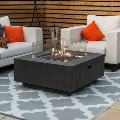 Product photograph showing Albany Gas Fire Pit With Wind Guard