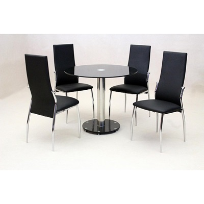 Product photograph showing Alonza Black Dining Table