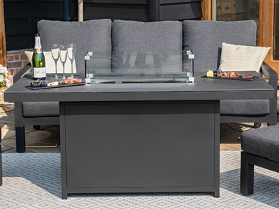 Product photograph showing Aluminium Fire Pit Dining Table