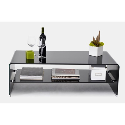 Product photograph showing Angola Black Coffee Table With Shelf