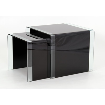 Product photograph showing Angola Black 2 Piece Nest Of Tables