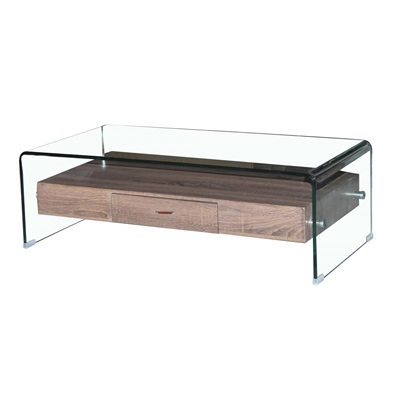 Product photograph showing Angola Clear Coffee Table With Drawer