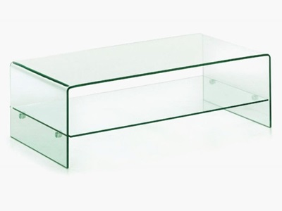 Product photograph showing Angola Clear Coffee Table With Shelf