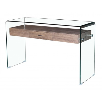 Product photograph showing Angola Clear Console Table With Drawer