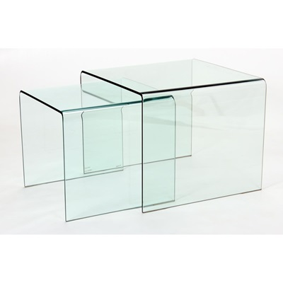 Product photograph showing Angola Clear 2 Piece Nest Of Tables