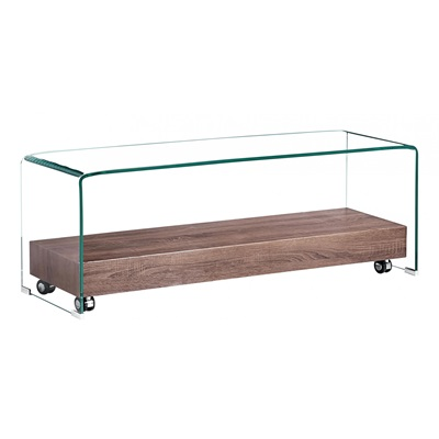 Product photograph showing Angola Clear Tv Unit With Shelf
