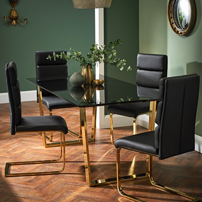 Product photograph showing Antibes Dining Chair Black Pack Of 2