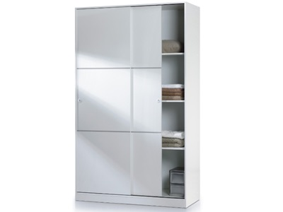 Product photograph showing Arctic Sliding Wardrobe 4 Foot With Shelves White