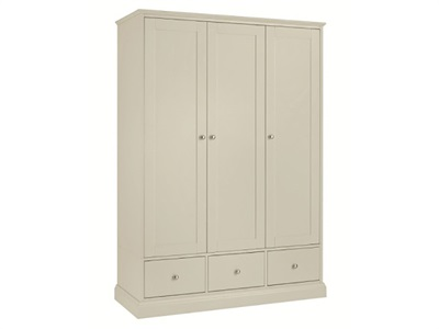 Bentley Designs Ashby Cotton Triple Wardrobe White 3 Door Wardrobe