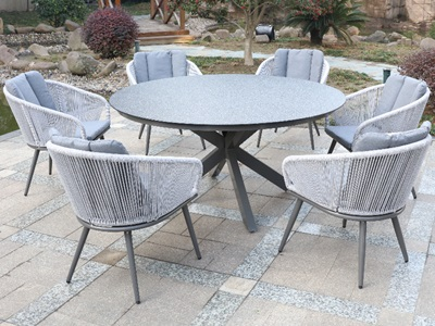 Product photograph showing Aspen 6 Seater Round Set