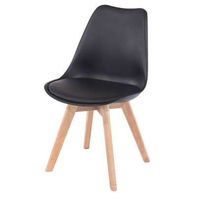 Product photograph showing Aspen Upholstered Plastic Chairs With Wood Legs Pair