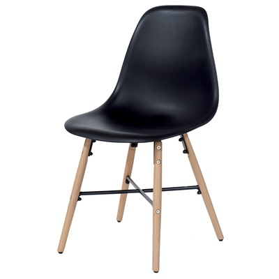 Product photograph showing Aspen Plastic Chairs With Wood Legs And Metal Cross Rails Pair