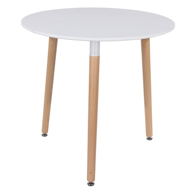 Product photograph showing Aspen Round Table With Wooden Legs