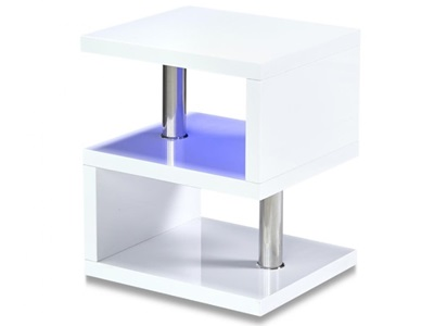 Product photograph showing Astana Led Occcasional Table White High Gloss