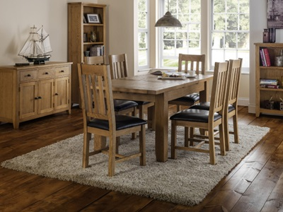 Product photograph showing Astoria Extending Oak Dining Set With 6 Astoria Chairs