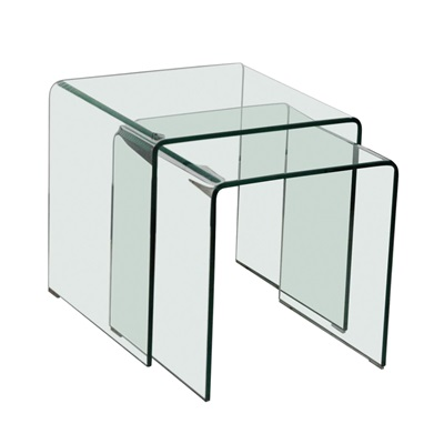 Product photograph showing Azurro Nest Of 2 Tables Glass