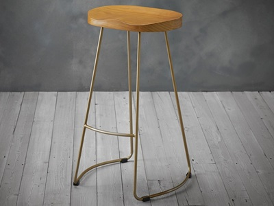 Product photograph showing Bailey Pine Wood Seat Gold Effect Leg Bar Stool