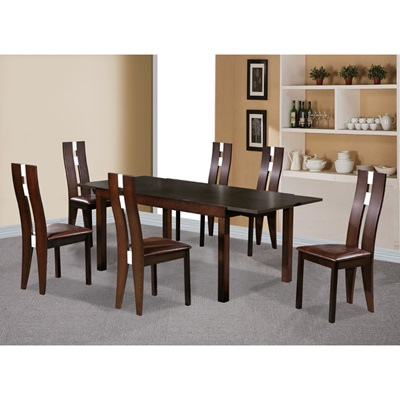 Product photograph showing Baltic Dining Set With 6 Solid Beech Chairs Dark Walnut