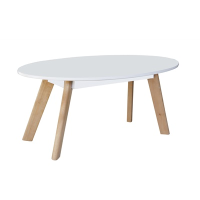 Product photograph showing Belgium Oval Coffee Table White