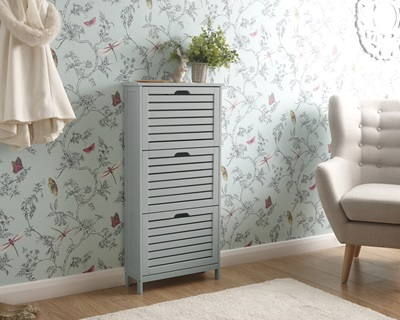 Product photograph showing Bergen Three Tier Shoe Cabinet