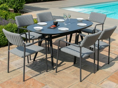 Product photograph showing Bliss 6 Seat Oval Dining Set