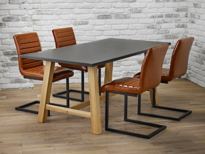 Product photograph showing Brooklyn Dining Table Grey Top