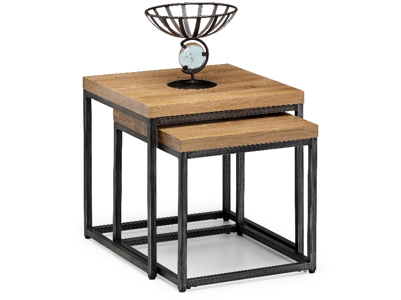 Product photograph showing Brooklyn Oak Nesting Lamp Tables