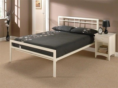 Snuggle Beds Buckingham 4 6 Double Ivory Slatted Bedstead Metal Bed