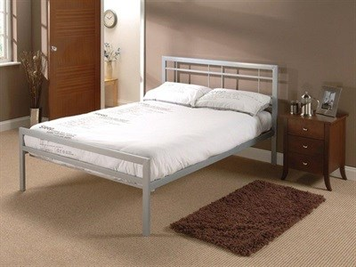 Snuggle Beds Buckingham Silver 4 6 Double Silver Slatted Bedstead Metal Bed