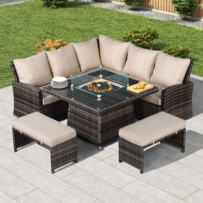 Product photograph showing Cambridge Compact Corner Dining Set With Fire Pit Table
