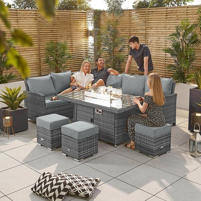 Product photograph showing Cambridge Corner Dining Set With Fire Pit Table - Left Hand