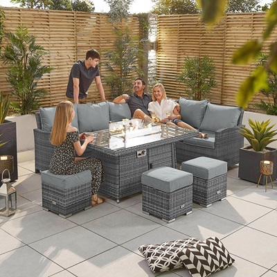 Product photograph showing Cambridge Corner Dining Set With Fire Pit Table - Right Hand
