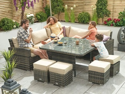 Product photograph showing Cambridge Deluxe Corner Dining Set With Parasol Hole