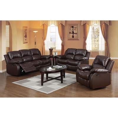 Product photograph showing Carlino Recliner Full Bonded Leather 2 Seater Brown