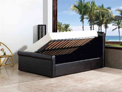 GFW Carolina Leather Ottoman 4 6 Double Black Leather Ottoman Bed