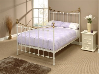 Original Bedstead Co Carrick in White 3 Single Glossy Ivory Slatted Bedstead Metal Bed