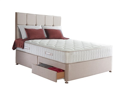 Sealy Casoli 1200 Divan Set 5 King Size Zip And Link Aubergine Platform Top - No Drawers Divan