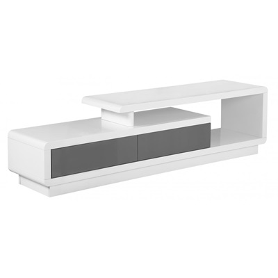 Product photograph showing Cavalier High Gloss Tv Cabinet White And Grey
