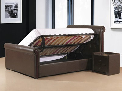 Product photograph showing Caxton Faux Leather Storage Ottoman