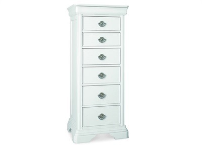 Bentley Designs Chantilly White 6 Drawer Tall Chest Chantilly White 6 Drawer Chest Drawer Chest