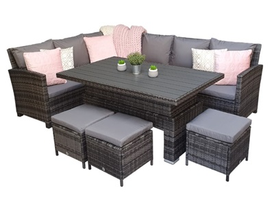 Product photograph showing Charlotte Corner Dining Set With Polywood Lift Table