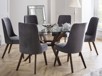 Product photograph showing Chelsea Large Dining Table 6 Huxley Chairs
