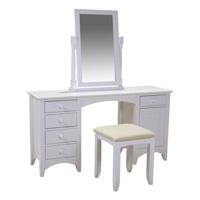 Product photograph showing Chelsea White Dressing Table Stool