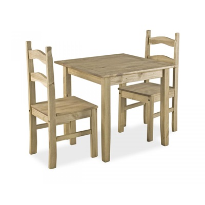 Product photograph showing Coba Small Mexican Dining Set With 2 Chairs