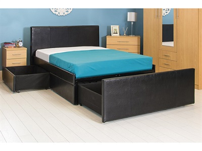 GFW Colorado 4 6 Double Brown Leather Leather Bed